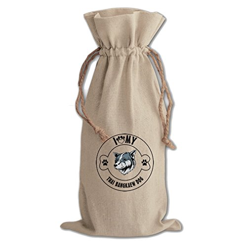 Canvas Wine Drawstring Bag I Love Paw My Thai Bangkaew Dogdog Style In Print by Style in Print