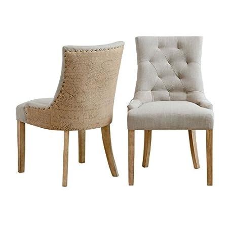 My-Furniture – Torino – Silla de Comedor tapizada de Alta Calidad, con  Respaldo Curvado y Patas rusticas de Color Natural