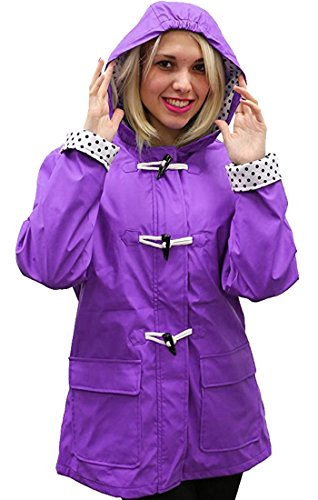 Apparel No. 5 Women's Hooded Toggle Rain Coat (Medium, Purple)