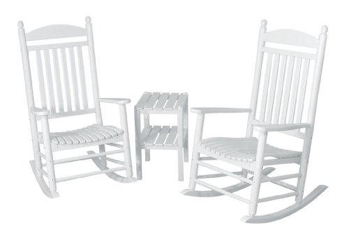 Polywood Jefferson Rocking Chair - POLYWOOD PWS140-1-WH Jefferson 3-Piece Rocker Chair Set, White