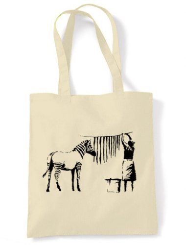 Tote Stripes Unbleached Out Zebra Hanging Bag Banksy Cotton and Cream Shoulder Washing qaTxR