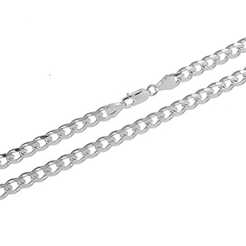 - KEZEF Creations Men's Sterling Silver Curb Chain Necklace 5.5mm Cuban Link Made in Italy 5.5mm 24 inch