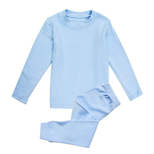Little Girls Boys Thermal Underwear Long John Set Thermal Breathing Pajama Crewneck Top and Bottom 2PC Set, (Blue, (Long John Thermal Pajamas)