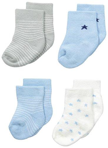 Petit Lem Baby-Boys Newborn 4 Pack Socks, Light Blue, Newborn/3 Months