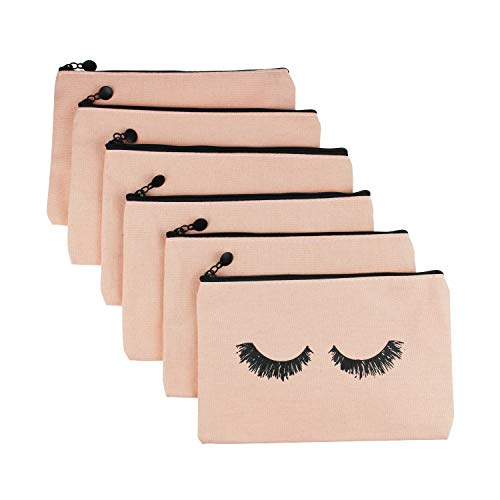 Goodma 6 Pieces Makeup Cosmetic Bags Eyelash Pattern Travel Pouches Toiletry Cases with Zippered Pocket for Women and Girls (Pink)
