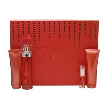 Perry Ellis F By Perry Ellis For Women. Gift Set Eau De Parfum Spray 3.4 Oz Body Lotion 3.0 Oz Bath Shower Gel 3.0 Oz Eau De Parfum Spray 0.25 Oz