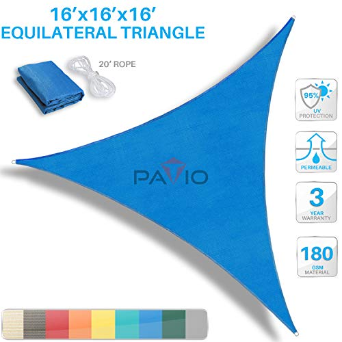 Patio Paradise 16' x16'x 16' Blue Sun Shade Sail Triangle Canopy - Permeable UV Block Fabric Durable Outdoor - Customized Available