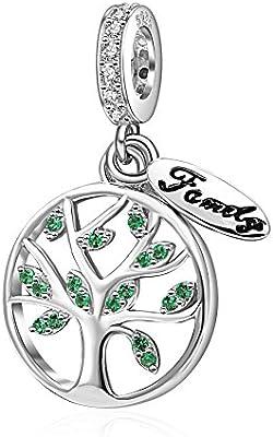 a1a6ed40e31e Pulsera Árbol Familiar Auténtica plata de ley 925 con dijes de piedra verde