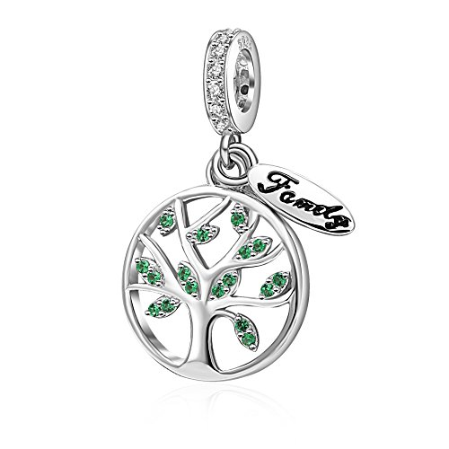 ead Authentic 925 Sterling Silver Tree of Life Family Dangle Charms Pendants fit for European Bracelet ()