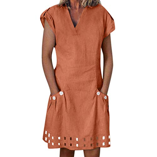 Women Casual V-Neck Ruffled Pockets Lace Shift Daily Buttoned-Decor Dresses Orange