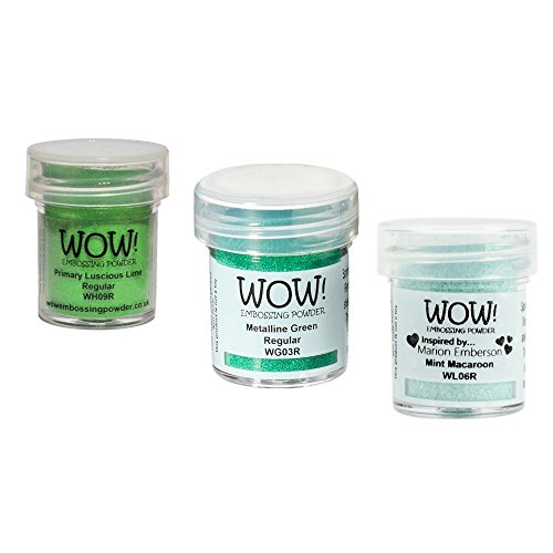 Wow! Embossing Powder Wow! Lucky Green Bundle, (15ml) jars of Primary Luscious Lime, Metalline Green and Mint Macaroon