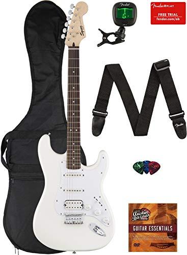Fender Squier Bullet Stratocaster HSS Hard Tail Guitar – Laurel Fingerboard, Arctic White Bundle with Gig Bag, Tuner, Strap, Picks, and Austin Bazaar Instructional DVD