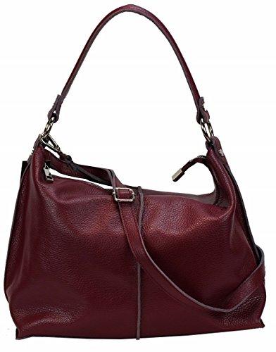 0759d6cc2a32c Italy Handtasche Damen Pia Weinrot Designer Ledertasche Bag Bozana  fmvYbygI76