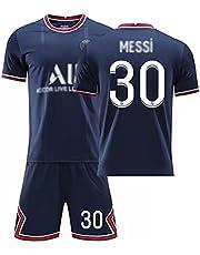 Weqenqing 21-22 New Paris Home Jersey, Nummer 30 Jersey, Parisian Jersey, Heren Voetbal T-shirt, Voetbal Uniform, Gepersonaliseerde T-shirt + Shorts, Blauw