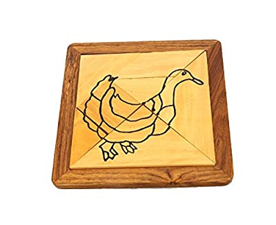 Handmade Wood Duck Tangram Puzzle With 6 Pieces - Puzzles and Games for Kids