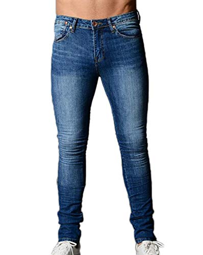 In Uomo Da 1 S Jeans Fit Blu Denim Slim Skinny Moda Strappati Pantaloni Stretch Scuro 3xl 5E1Aqn5Z