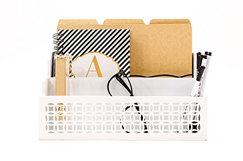 Rustic Country Letter Mailbox - Blu Monaco Wooden Mail Organizer - 2 Tier White Desk Organizer - with cutout trellis design - Rustic Country Letter Sorter - Kitchen Counter Organizer File Folder Holder