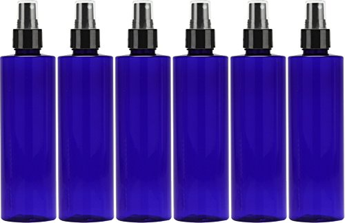 Fine Mist Spray Bottle, Refillable - Reusable Empty Cobalt Blue Oval 8 Oz. Bottles (Pack of (Oval Spray Bottle)