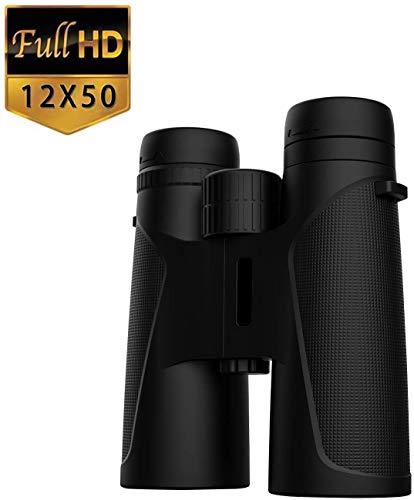 Binoculars for Adults, 12X50 Waterproof Lightweight Compact Binocular Prism Bak4 HD Binocular for Bird Watching Hunting Traveling and Sightseeing with Smartphone Adapter