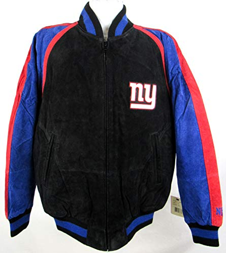 G-III Sports Mens York Giants Full Zip Embroidered Suede Soft Leather Jacket, Size Medium