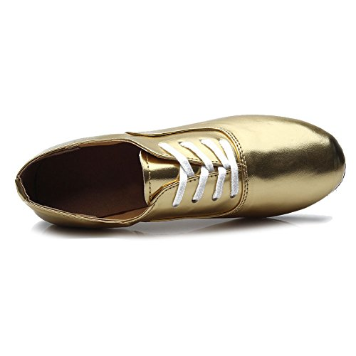 HROYL Hombre ES-702 Cuero Danza Latina Zapatos/Calzado de danza para hombre Gold