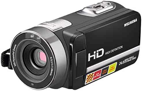 WELIKERA Camera Camcorder, Remote Control Handy Camera, IR Night Vision Camcorder, HD 1080P 24MP 16X Digital Zoom Video Camcorder with 3.0