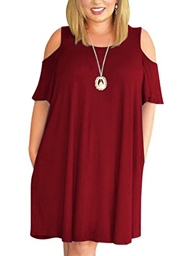 Nemidor Women's Cold Shoulder Plus Size Casual T-Shirt Swing Dress with Pockets (24W, Wine)