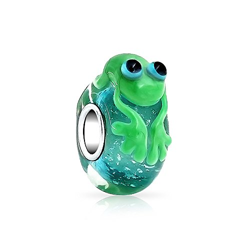Frog Animal Charm - Cute Green Frog Charm Sterling Silver Murano glass Lampwork Animal Bead for European Bracelet