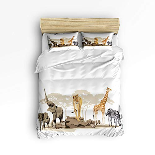 (Safari 3 Piece Bedding Set Comforter Cover Full Size, Illustration of Wild Savannahs African Animals Exotic Giraffe Lion Elephant Zebra,Duvet Cover Set Bedspread with Zipper Closure for Kids/Adults)