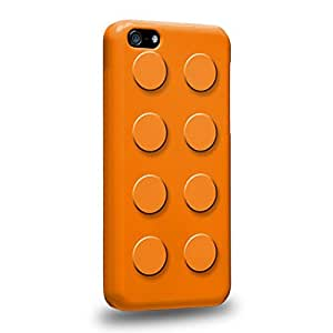 Diy iphone 5 5s case The most popular Art Orange Building Blocks Bricks Protective Snap-on Hard Back Case Cover for Apple iPhone 5 5S