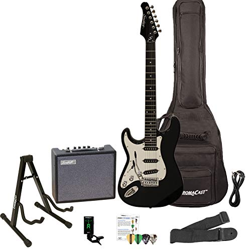 Sawtooth ST-ES-LH-BKC-KIT-3 Left Handed Electric Guitar in Black with Chrome Pickguard, Lesson, Gig Bag, Stand, Cable, Picks, Tuner, Strap and Amplifier