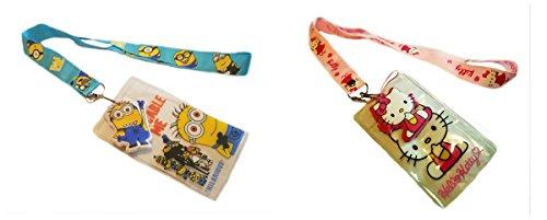 Kitty Hello Telephone (Minions & Hello Kitty 2 Pack LANYARDS Keychain Mobile Phone ID Holder Characters Cartoon Comics Superhero Logo Novelty Theme)