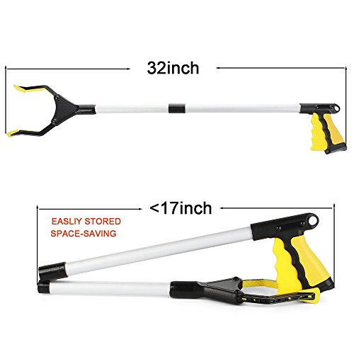 Foldable Extender Gripper Tool 32'', 2 Packs, Upgraded version Reacher Grabber Pick Up Tool Long Arm Reaching Claw (2 Pcs) (Yellow+Yellow) by ENINE (Image #2)
