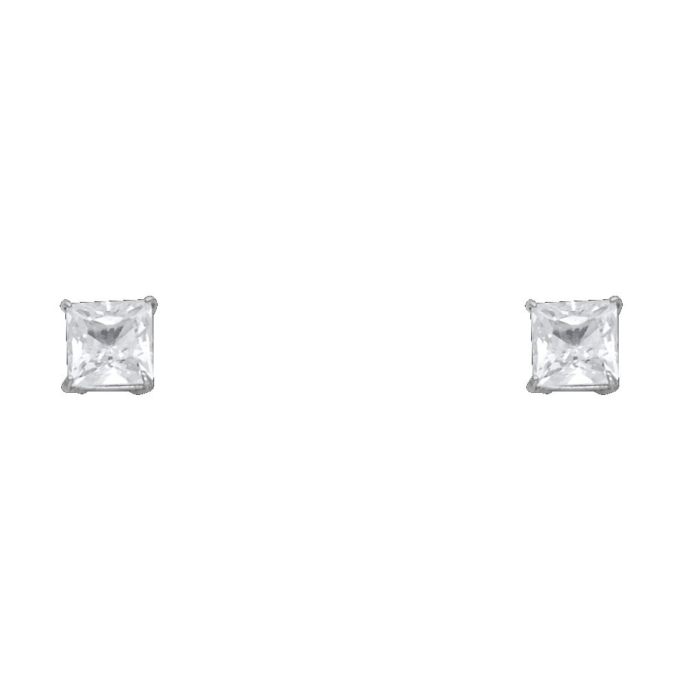 Wellingsale 14K White Gold Polished 5mm Princess Solitaire Basket Style Prong Set Stud Earrings With Silicone Back