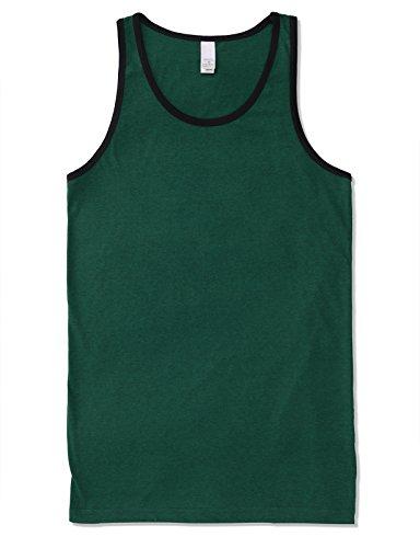 - JD Apparel Mens Men's Basic Athletic Jersey Tank Top Contrast Binding L Teal Black