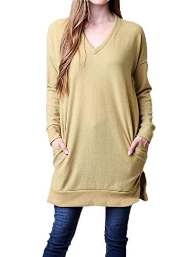 Col Hauts Femmes JackenLOVE Pulls Manches Robes Mode Chandail Sweat Shirts Pullover Tops Printemps Jaune Mini Casual Tee Long Longues Tunique V Automne Shirt Jumpers T EErHqZ