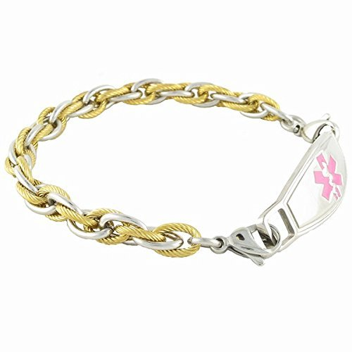 Medical Alert Bracelet for Women | Lymphedema Alert Right Arm | Other Conditions available | Pegasus, Pink - 7.25 by N-Style ID