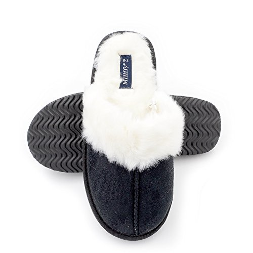 Slipper Indoor Memory Foam Slippers eva Faux Style Suede Millffy Fur Trim Hair Grey Women's Rabbit Nordic zf7w7y5q6