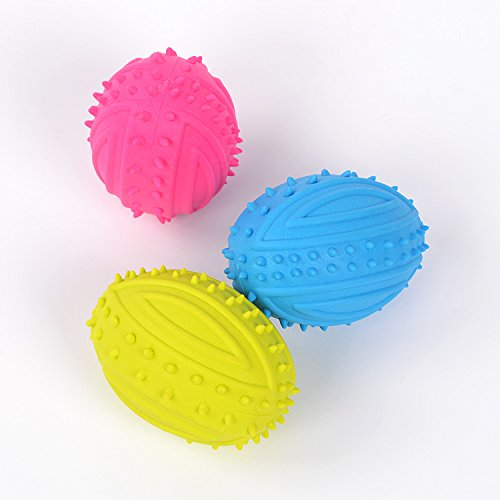 3 Pcs of Healthy Oral Care Pet Dog Cat Chew Toy Sounding Ballon Rugby