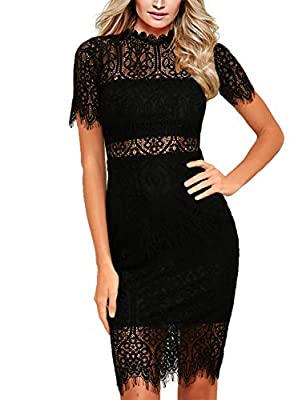 Zalalus Women's Elegant High Neck Short Sleeves Lace Cocktail Party Dress