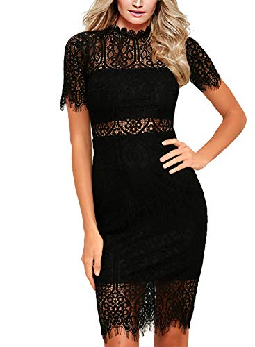 Zalalus Women's Lace Dresses for Cocktail Wedding Party Elegant High Neck Short Sleeves Above Knee Length Summer Bodycon Casual Midi Dress Black (Sexy Stretch Lace Dress)