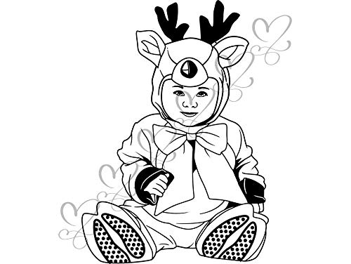 Yetta Quiller Cute Baby Boy Toddler Outfit Deer Halloween Costume Fashionable Happiness Vector Clipart Vinyl Sticker Circuit Vinyl Wall Decor Cutting ()