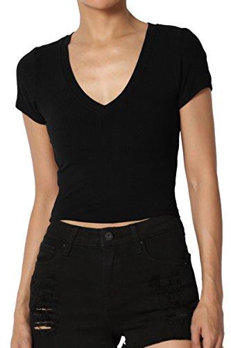 TheMogan Junior's Ribbed Jersey V-Neck Short Sleeve Crop Top Black M