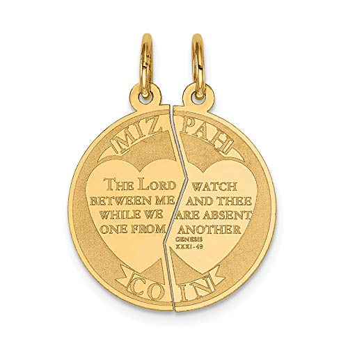 14k Yellow Gold Break Apart Mizpah Coin Emotional Bond Words Charm 26x20mm ()