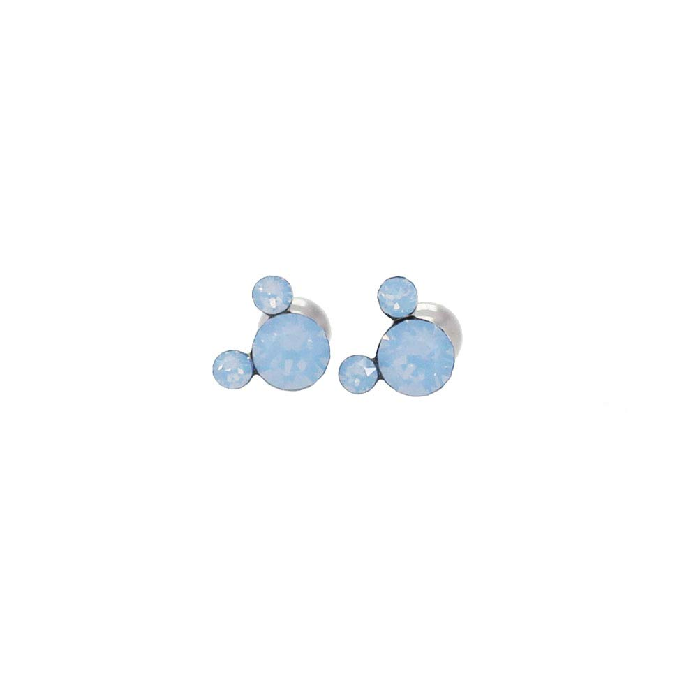 Michey mouse Earrings 4mm Crystal Screw back ball Surgical steel Namdeamoon market
