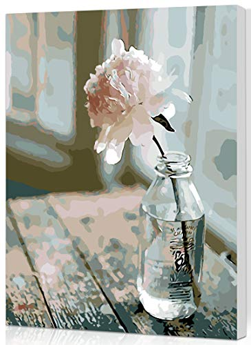 SHUAXIN [Wooden Framed] DIY Oil Painting Paint by Number Kit for Adult Kids - Flower in The Bottle Design 16X20 Inch