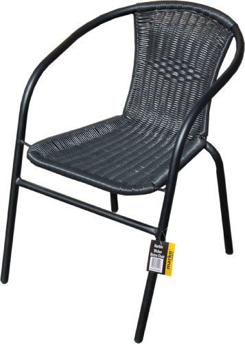 Marko Outdoor Black Outdoor Wicker Rattan Bistro Chair Metal Frame Woven Seat Indoor Outdoor (1 Chair)