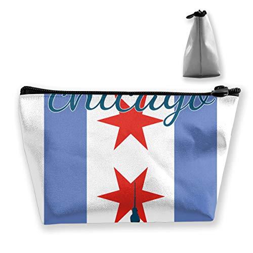 Bxsnd Chicago Flag Travel Cosmetic Bag Cute Makeup Bag for -