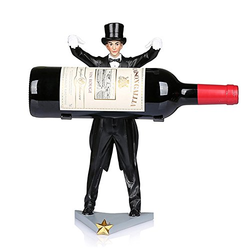 Ozzptuu Vintage Resin Magic Magician Red Wine Rack Shelf Wine Bottle Holder Sculpture Practical Crafts for Home Decor