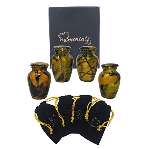 - Woodstock Camouflage Keepsake Urn Set of 4 - Solid Metal Camouflage Mini Urn - Affordable Camouflage Token Urn for Human Ashes - Keepsakes Set with Premium Velvet Bags